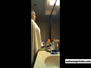 My nude 52 years old Mom spied in bathroom
