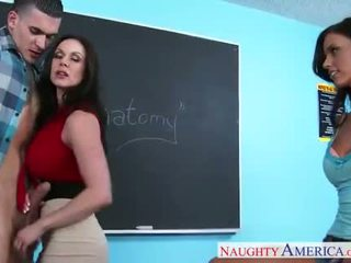 Sex teachers Kendra Lust and Whitney Westgate sharing cock in classroom