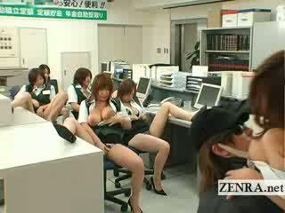 Japānieši post birojs kramplauzis krūtainas masturbation ballīte