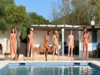 flickor, naken, lesbo