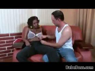 velká prsa, výstřik, černá a ebony