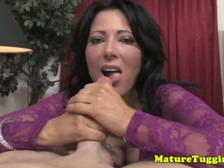 Busty MILF Tugging Cock in Lace Lingerie, Porn 1f