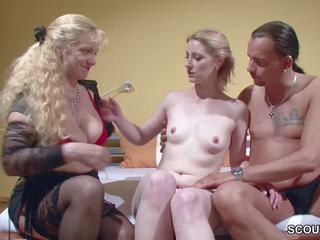 German Mom Teach Young Couple how to Fuck and Swallow