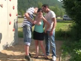 Risky public sex threesome AWESOME