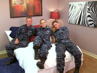 Sexy Navy girl fucks her sailors