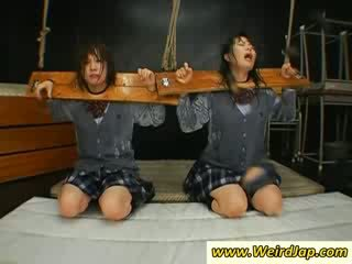 Tied up oriental school girl gets mouth cumfilled