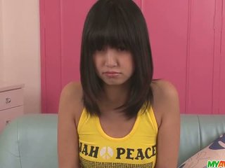 Kotomi Asakura teen asian gives blowjobs in a threesome