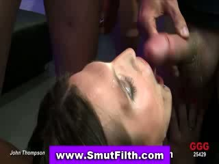 Bukkake slut blowjob and cum facial
