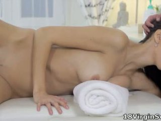 Tight pussy Nika has her masseuse take her virginity She loves his hot cock inside her
