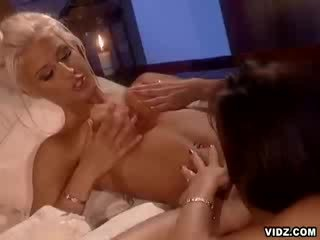 Blondie bitch caresses puss as slut watches