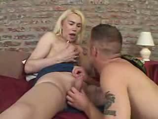 Longhaired tranny is the best lover for hugry dude