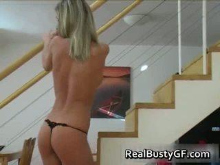 Leggy Busty Blonde In Fishnet Stripping