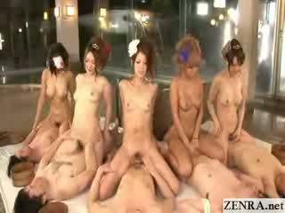 Japans coordinated cowgirl orgie met groep afrukken
