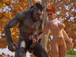 Vähän punainen ratsastus hood attacked & perseestä mukaan 3d monsterin werewolf sisään mystique forest. 3dx fairy pyrstö parodia