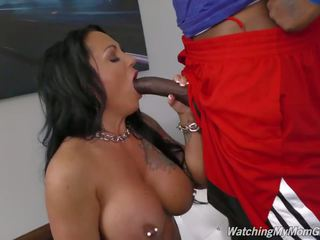 Busty Mother Takes Black Cock in Front of Pervert Son