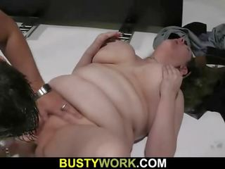 Working Plump Lady Spreads Legs for Him