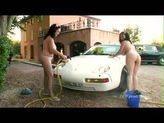 Breasty Brunette Babes JoAnna Bliss And Ally Gets Naked While Washing A Nice Car