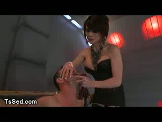 Bound guy flogged and Throat Fucked by asian Tranny