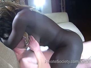 Ebony girl fucks a man twice her age