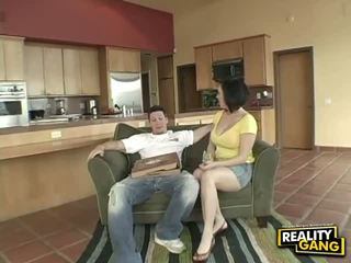 Busty housewife fucks pizza delivery boy