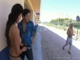 Public Nudity Teasing To Hot Blowjob