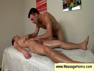 Gay uses his stiff dick as a massage toy