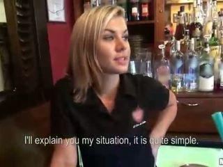 Gorgeous blonde barmaid payed and banged