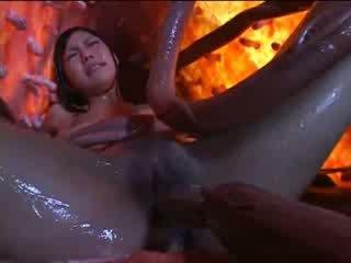 Seksuālā aziāti meitene ar pārsteidzošās aziāti melones ir pounded līdz tentacles