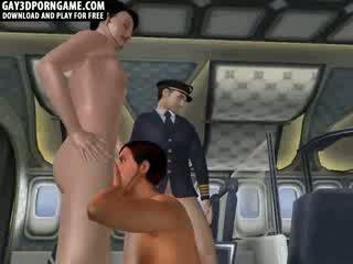Geil 3d tekenfilm hunk double teamed op an airplane