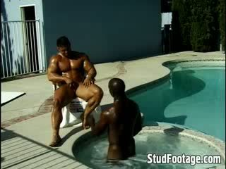 Handsome gay guys getting rammed in their asses by the swimming pool