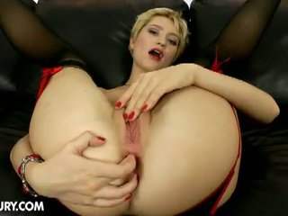 Blonde booty babe janet mercury anal b...