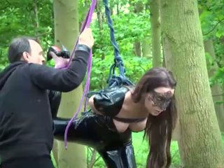 Slutty slave tied and bend over for as...
