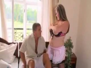 Mature big tits maid gets noughty