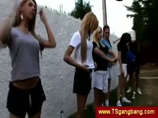 Sporty transsexuals permulaan gila gangbang