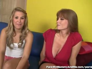 Hot Mom and Cute Daughter in Hot Threesome