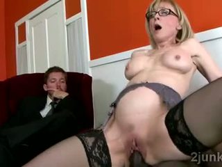 Stunning mature secretary pleases her ...