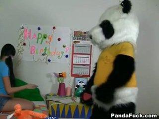 Panda gets jong tiener babe