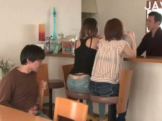 japanse, groepsseks, cumshot