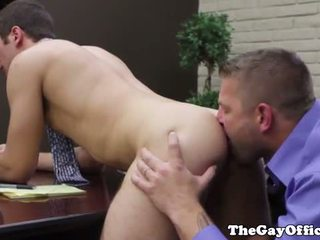 Gay office stud getting rimjob by boss