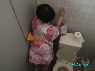 Asian Girl In Kimono Fucked From Behind Cum To Ass In The Toilette
