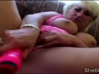 Big Tits Granny Masturbates With Big D...