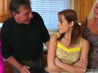 Starý krok táta seduced mladý roztomilý dospívající dcera