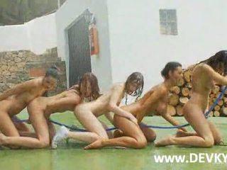Five basketball girls fingering naked on a court