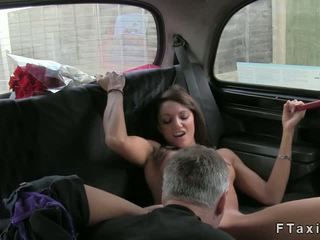 Cop and taxi driver fucking brunette